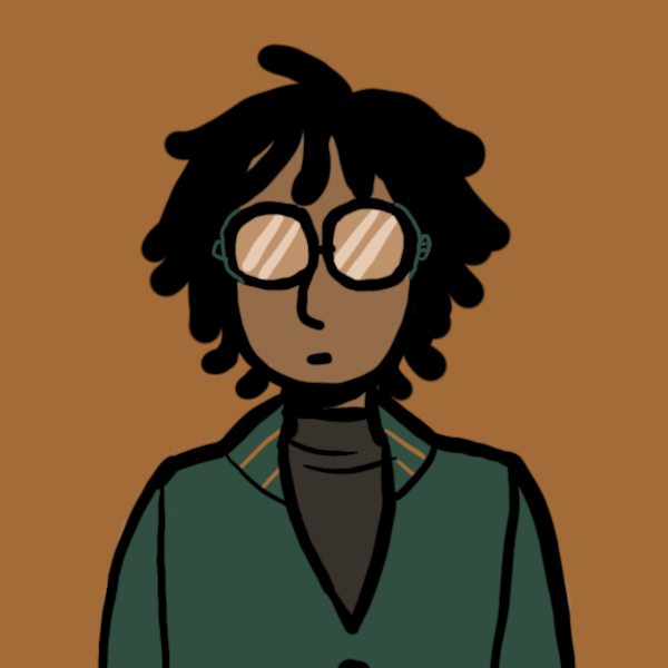 Illustrated avatar of a Black person with short hair, glasses, and a green sweater.