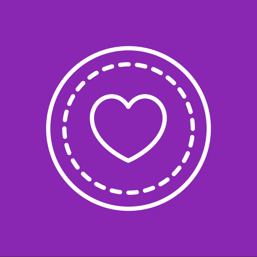 Icon of a heart inside a double circle, by Made from the Noun Project