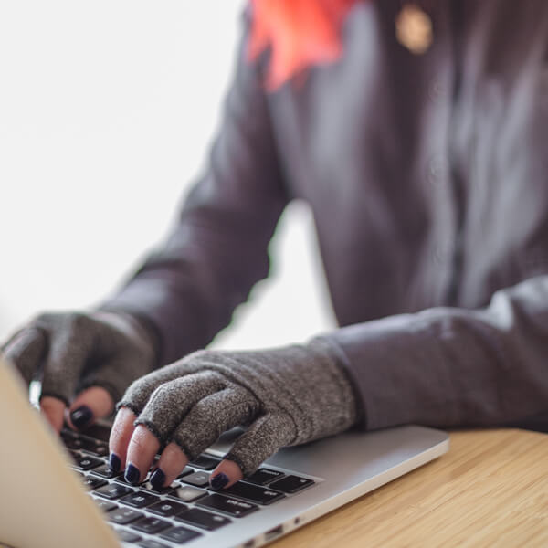 Typing with compression gloves